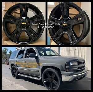 26 Gmc Yukon Sierra Black Wheels Chevy Tahoe Silverado Tires Rims Ram Escalade