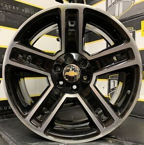 26 Chevy Silverado Tahoe Black Machine Wheels Rims Tires Gmc Sierra Yukon New