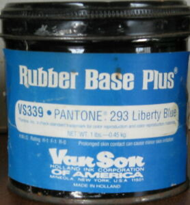 Van Son Printing Ink Vs339 Liberty Blue Rubber Base Plus 1 Lb Can Pms 293