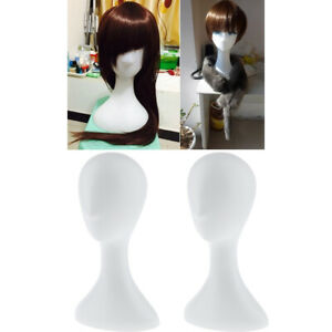 2pcs Mannequin Head Model Wig Hat Scarf Display Stand Holder Rack White Plastic