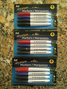 Lot Of 3 Packages Jot Dry Erase Markers Pointed Tip 12 Markers 3 Colors