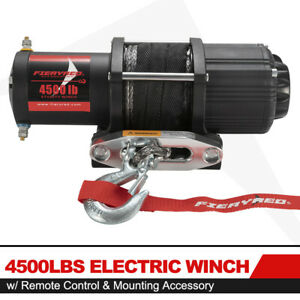 Fieryred 4500lbs Electric Winch Atv Ute Offroad W synthetic Rope Remote Control