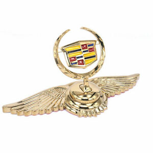Gold Wings Alloy 3d Logo Front Hood Ornament Sticker Emblem For Series Cadillac