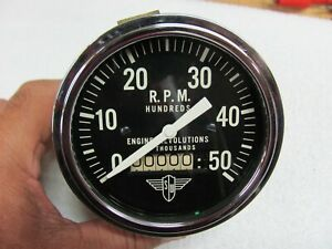 Stewart Warner Wings 5k Engine Revolutions Tachometer Original Curved Glass