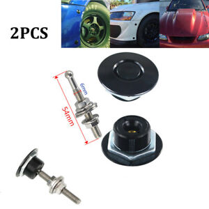 2x Push Button Quick Release Hood Bonnet Pins Lock Clip Car Bumper Latch Kit