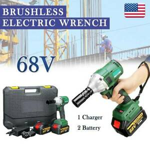 Electric Cordless Impact Wrench Brushless 1 2 driver 460nm Li ion 2 Battery