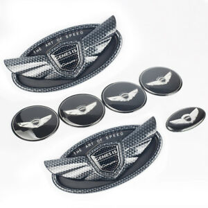 Set 7pcs 2010 19 For Hyundai Genesis Coupe Carbon Fiber Abs Wing Logo Emblem