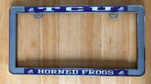 Tcu Horned Frogs 3d Purple White And Chrome License Plate Frame