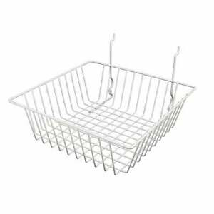 Econoco White Wire Basket For Slatwall Grid Of Pegboard N a