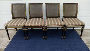 Vintage Mid Century Set Of 4 Baker Black Gold Gilt Cane Back Seat Chairs