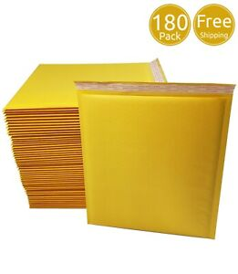Pack 180 In Box 9 X 12 Inches Usable Size Yellow Kraft Bubble Mailers Envelopes