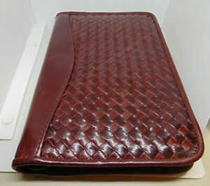 Vintage Scully Leather Zip Up Portfolio With Notepad Braided Design