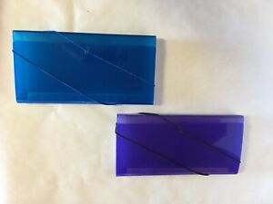 2 Small Expanding Accordion File Folders Blue And Purple