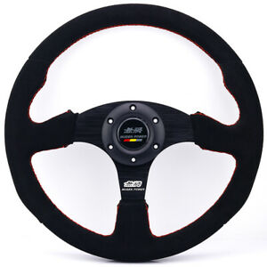 14inch Mugen Suede Leather Steering Wheel Tuning Drift Racing Car Steering Wheel