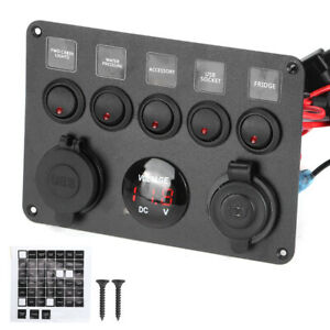 5 Gang Led Toggle Switch Panel With Digital Voltmeter Universal For Rv Motorboat