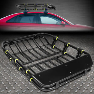 51 X 41 Mild Steel Roof Rack Top Cargo Luggage Carrier Basket Wind Fairing Black
