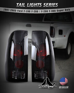 For 97 03 Ford F 150 F 250 F 350 Super Duty Tail Lights Styleside Black Smoke
