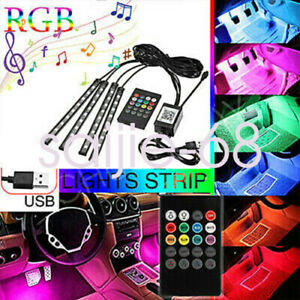 4x Rgb 36led Strip Atmosphere Light Bt Car Interior Usb Music Control