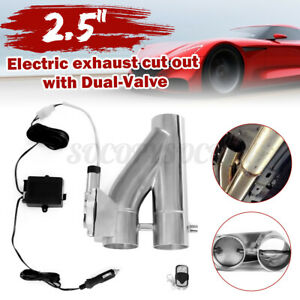 2 5 63mm Exhaust Control E cut Out Dual Valve Electric Y Pipe Remote Control
