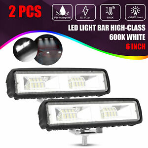 2x 6 inch Led Work Lights 60w Driving Strip Flood Beam Light Bar 4wd Suv Offroad