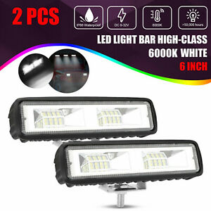2x 6 Inch 60w Led Work Lights Bar Flood Fog Lamp Offroad Driving Truck Suv Atv