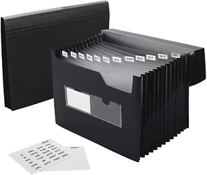 Sturdy Expanding File Folder Sticky Labels 13 Pockets Stand up Accordion Folder