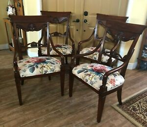 Set 4 Drexel Heritage Dining Room Chairs Extra Wide Arms Wood Captains Shell