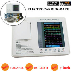 7 digital 3 channel 12 lead Electrocardiograph Ecg ekg Machine Interpretation