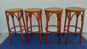 Set Of 4 Vintage Mid Century Cane Seat Bar Stools