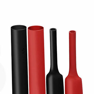 Black Red Heat Shrink Tubing Kit Dual Wall Adhesive Wire Wrap Tube 3 1 Ratio