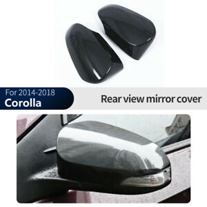 Carbon Fiber Rearview Side Mirror Cover Trim 2pcs For Toyota Corolla 2014 2018