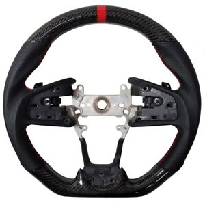 For 2016 2021 Honda Civic Gen 10th Real Carbon Fiber Steering Wheel Type R Red