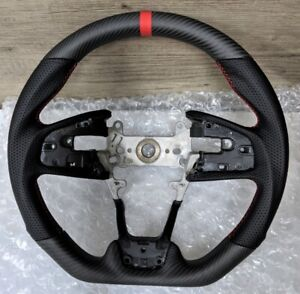 For 16 21 Honda Civic Gen 10th Real Carbon Fiber Steering Wheel Type r Matte Red