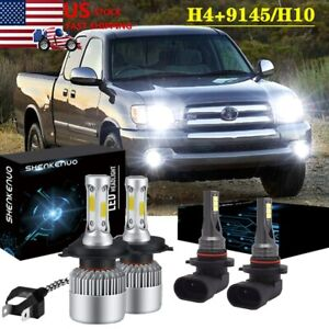 For Toyota Tundra 2000 2006 4pc Led Headlight Hi Low Beam Fog Light Bulb White