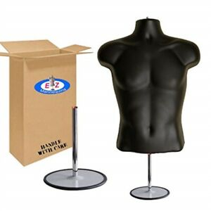 Male Mannequin Torso Dress Form Hollow Back Body Tshirt Display With Stand Fo