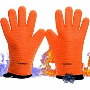 No 1 Set Of Silicone Smoker Oven Gloves Extreme Heat Resistant Washable Mitts