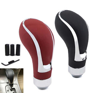 Black Leather Universal Manual automatic Car Gear Stick Shift Knob Lever Shifter