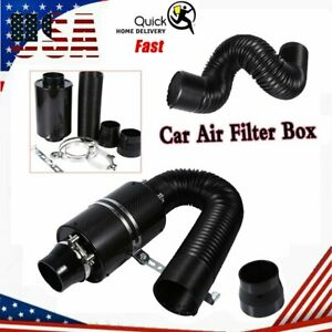 3 Universal Cold Feed Induction Kit Carbon Fiber Air Intake Filter Box No Fan