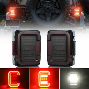 Smoke Led Tail Lights Brake Reverse Turn Signal For Jeep Wrangler Jk Jku 2007 17