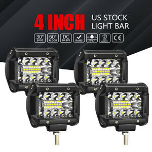 4x 4inch Cree Led Work Light Bar Flood Spot Offroad Fog Lamp 4wd Atv Truck Suv