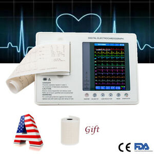 Portable 12 lead 3 channel Electrocardiograph Ecg ekg Machine Interpretation Ups