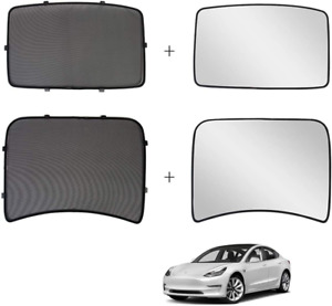 2in1 Glass Roof Sunshade Front Rear Mesh Insulation For Tesla Model 3 17 20