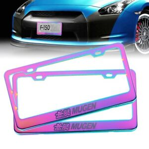 2pcs Universal Mugen Neo Chrome Stainless Steel License Plate Frame W Screw Caps