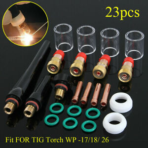 23pcs Tig Gas Lens Collet Body Consumables Kit Fit Wp 17 18 26 Tig Welding Torch