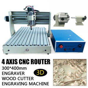 4 Axis 400w 3040 Cnc Router Engraver Carving Machine Woodworking Mill Drilling