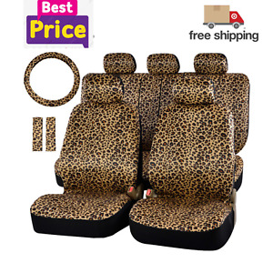 Luxury Leopard Print Car Seat Cover Full Set Universal Fit Seat Belt Pads 15