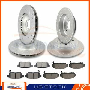 Front Rear Brake Disc Rotors And Ceramic Pads Slotted For Acura Integra 94 01
