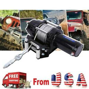12v Electric Winch Recovery 4000lbs Steel Cable Truck Suv W remote Control