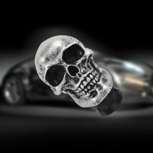 Universal Silver Skull Head Manual Gear Stick Shift Knob Shifter Lever Handle