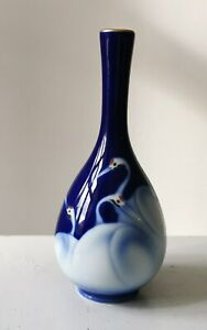 Vintage Blue Glazed Fukagawa Porcelain Vase With Crane Decoration From Japan